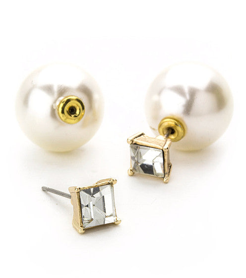 Square Crystal & Pearl Peekaboo Earrings- Gold