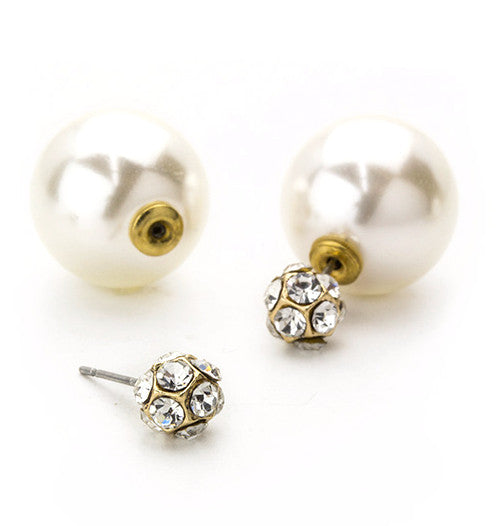 Crystal Pavé Ball & Pearl Peekaboo Earrings- Gold