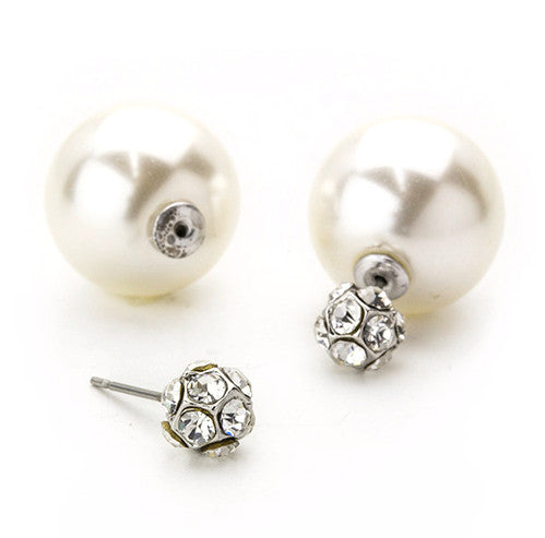 Crystal Pavé Ball & Pearl Peekaboo Earrings- Silver