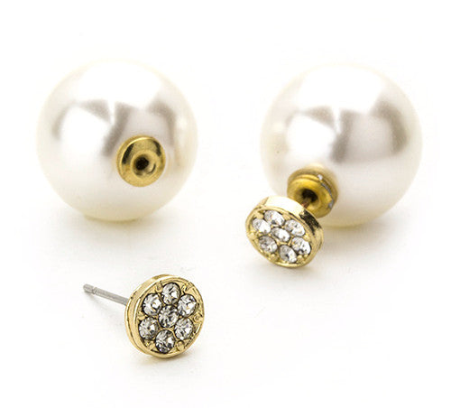 Pavé Dot & Pearl Peekaboo Earrings- Gold