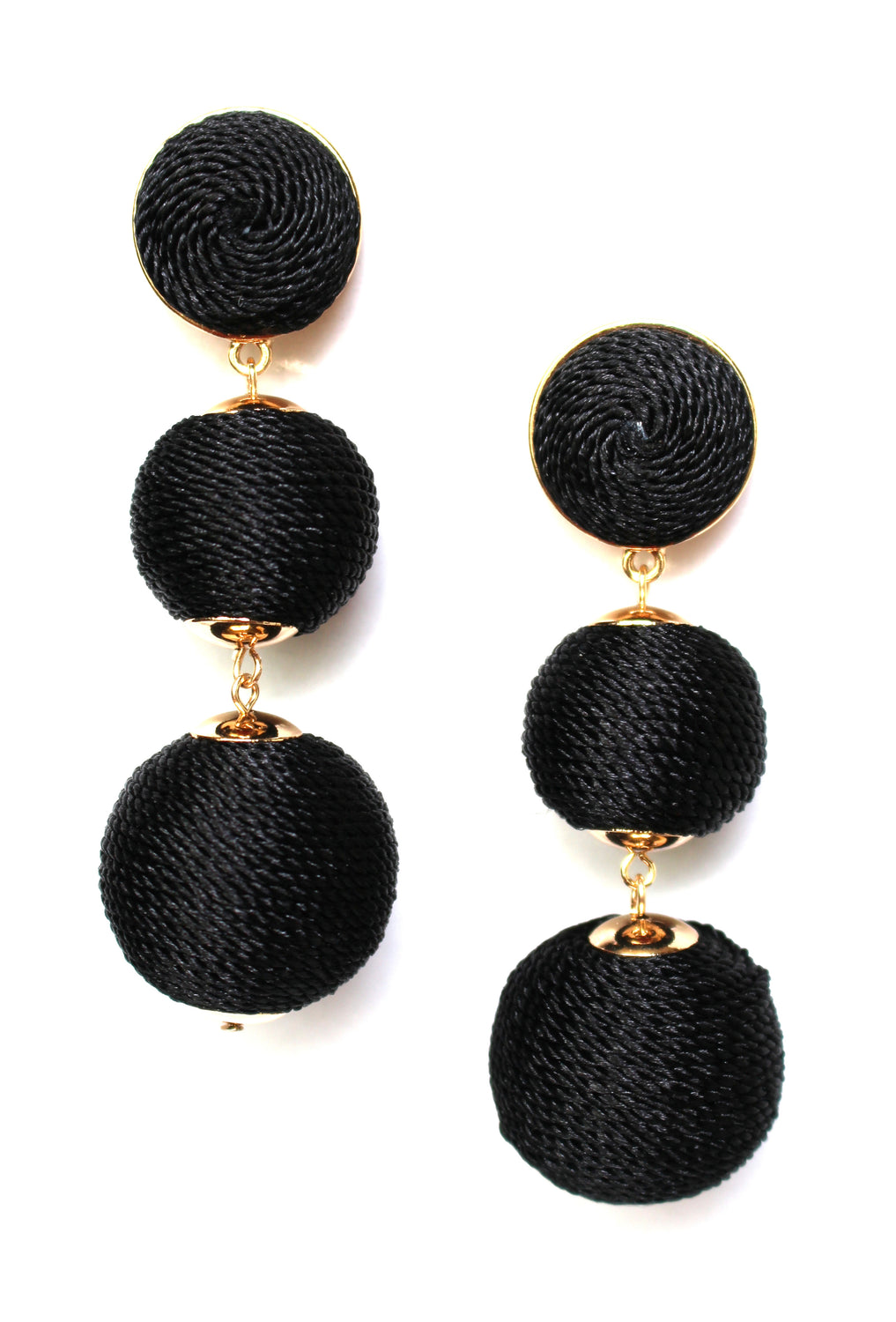 Shimmer Lee Drop Earrings- Black
