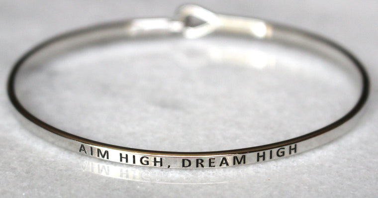 'Aim High, Dream High' Dainty Bangle Bracelet-Silver