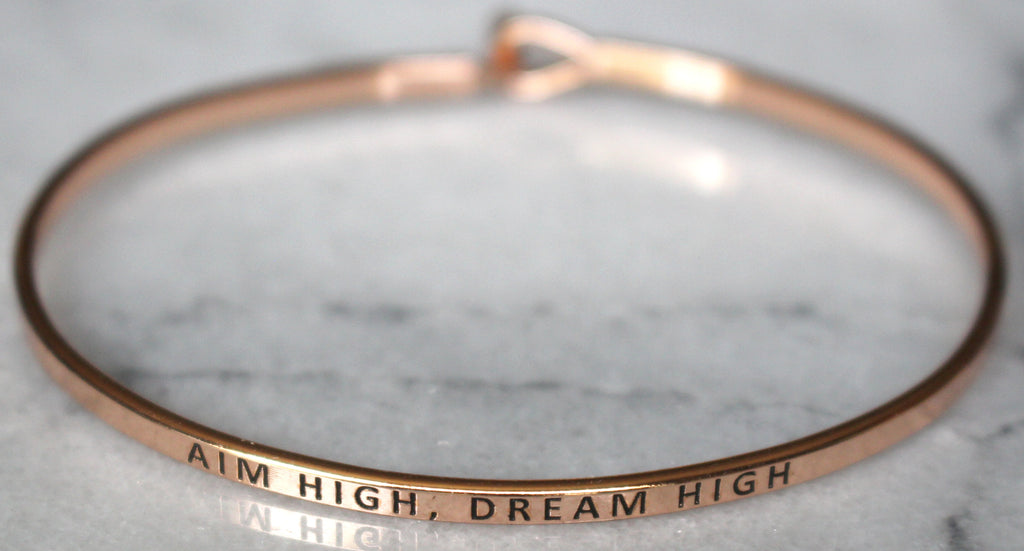 'Aim High, Dream High' Dainty Bangle Bracelet-Rose Gold