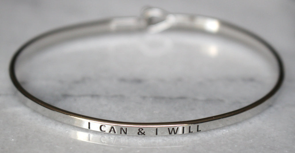 'I Can & I Will' Dainty Bangle Bracelet-Silver