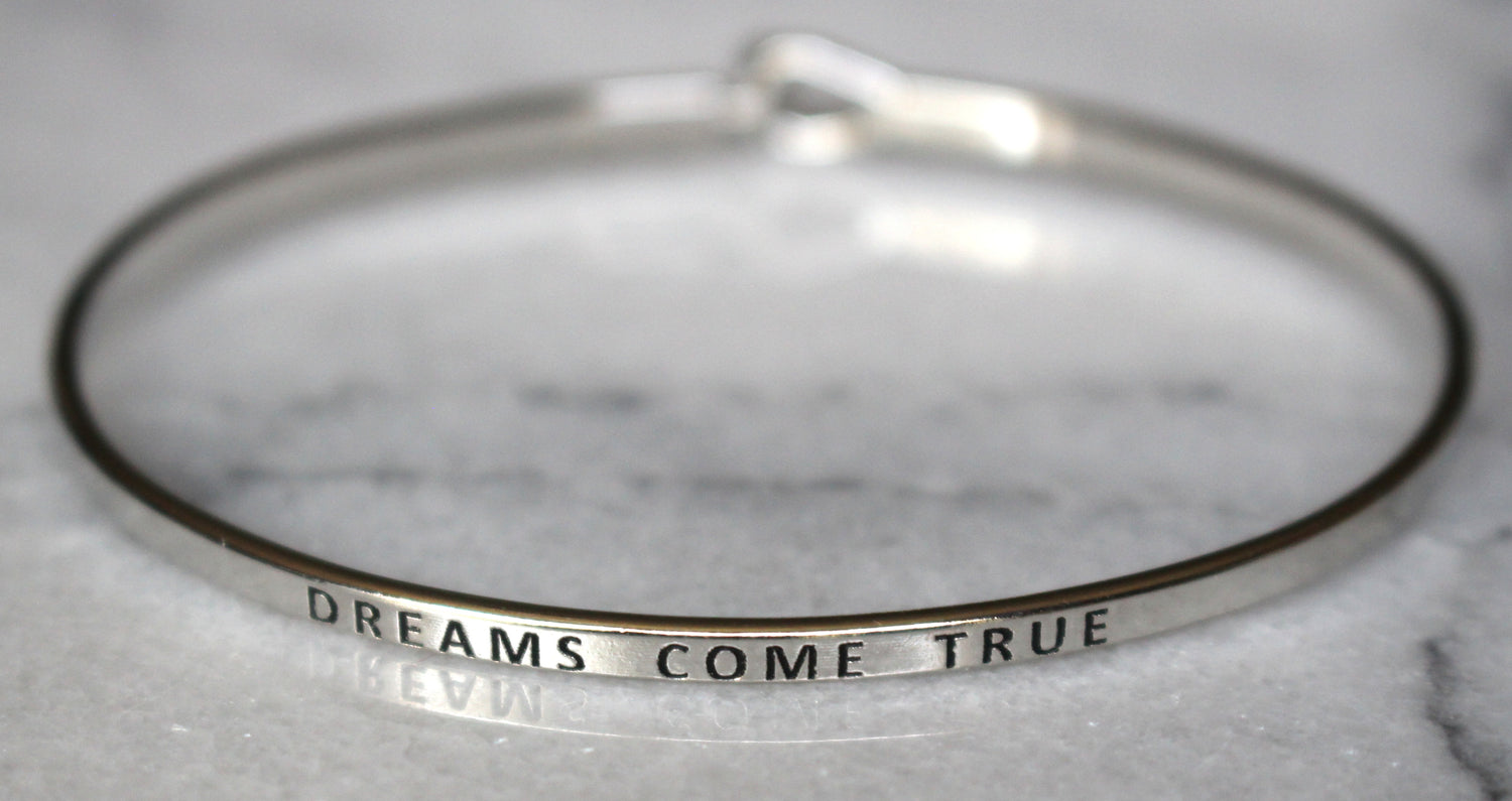 'Dreams Come True' Dainty Bangle Bracelet-Silver