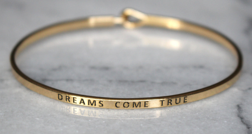'Dreams Come True' Dainty Bangle Bracelet-Gold