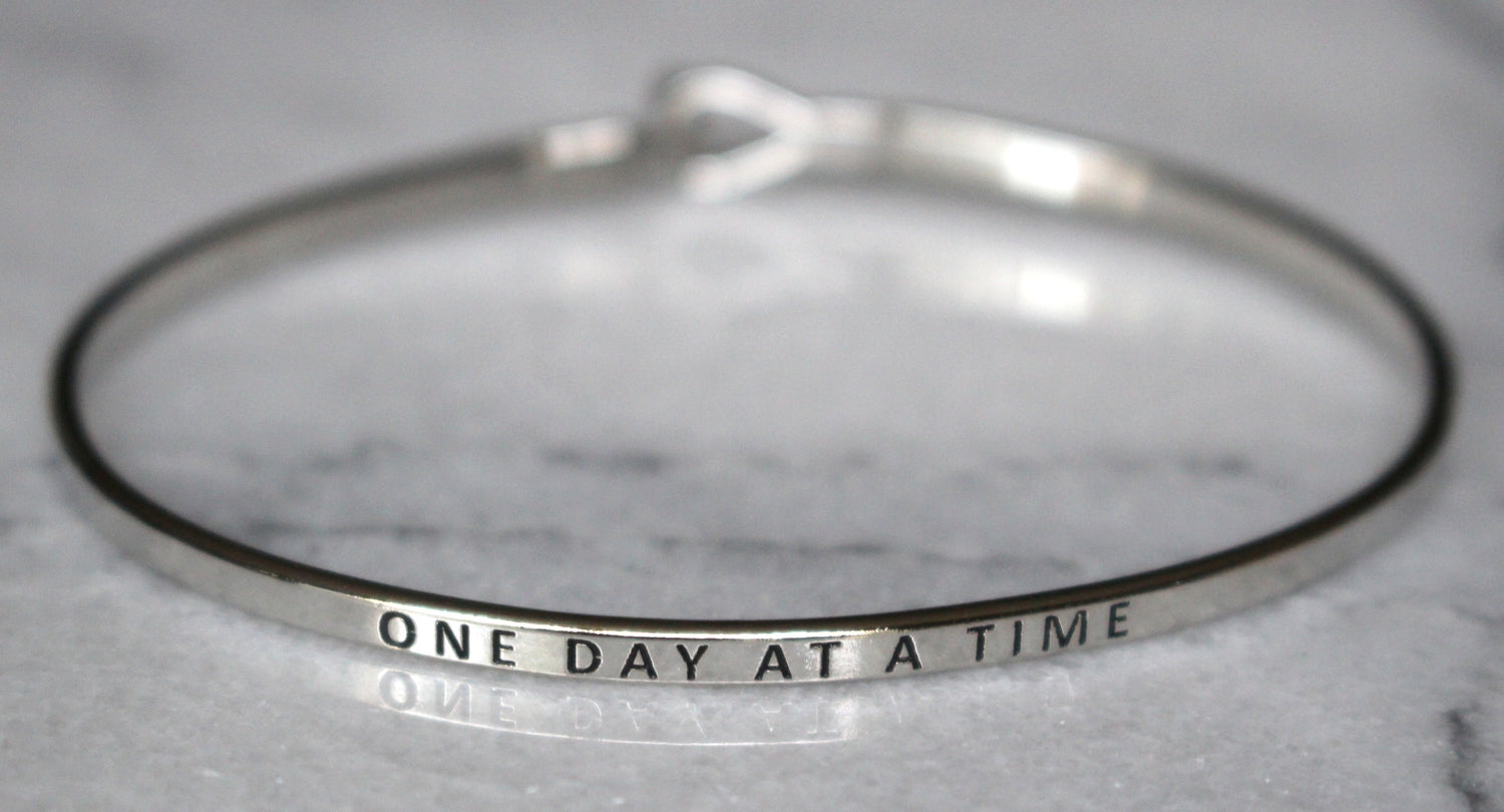 'One Day At A Time' Dainty Bangle Bracelet-Silver