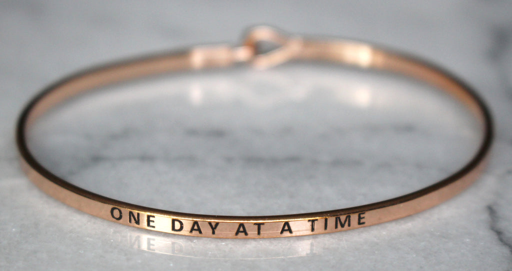 'One Day At A Time' Dainty Bangle Bracelet-Rose Gold