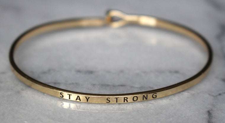 'Stay Strong' Dainty Bangle Bracelet-Gold
