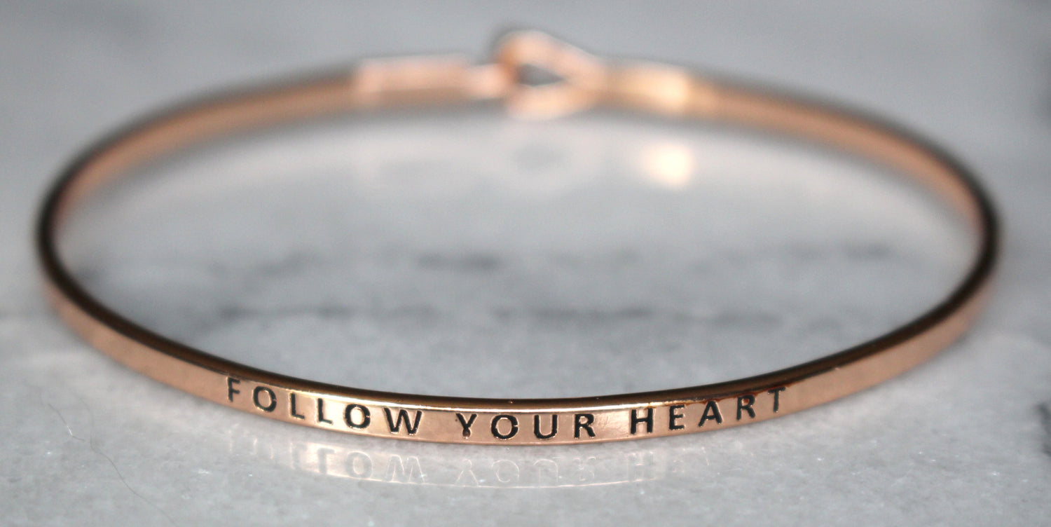 'Follow Your Heart' Dainty Bangle Bracelet-Rose Gold