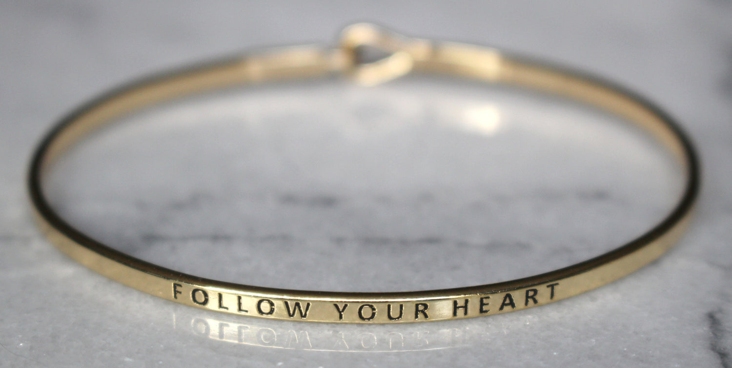 'Follow Your Heart' Dainty Bangle Bracelet-Gold