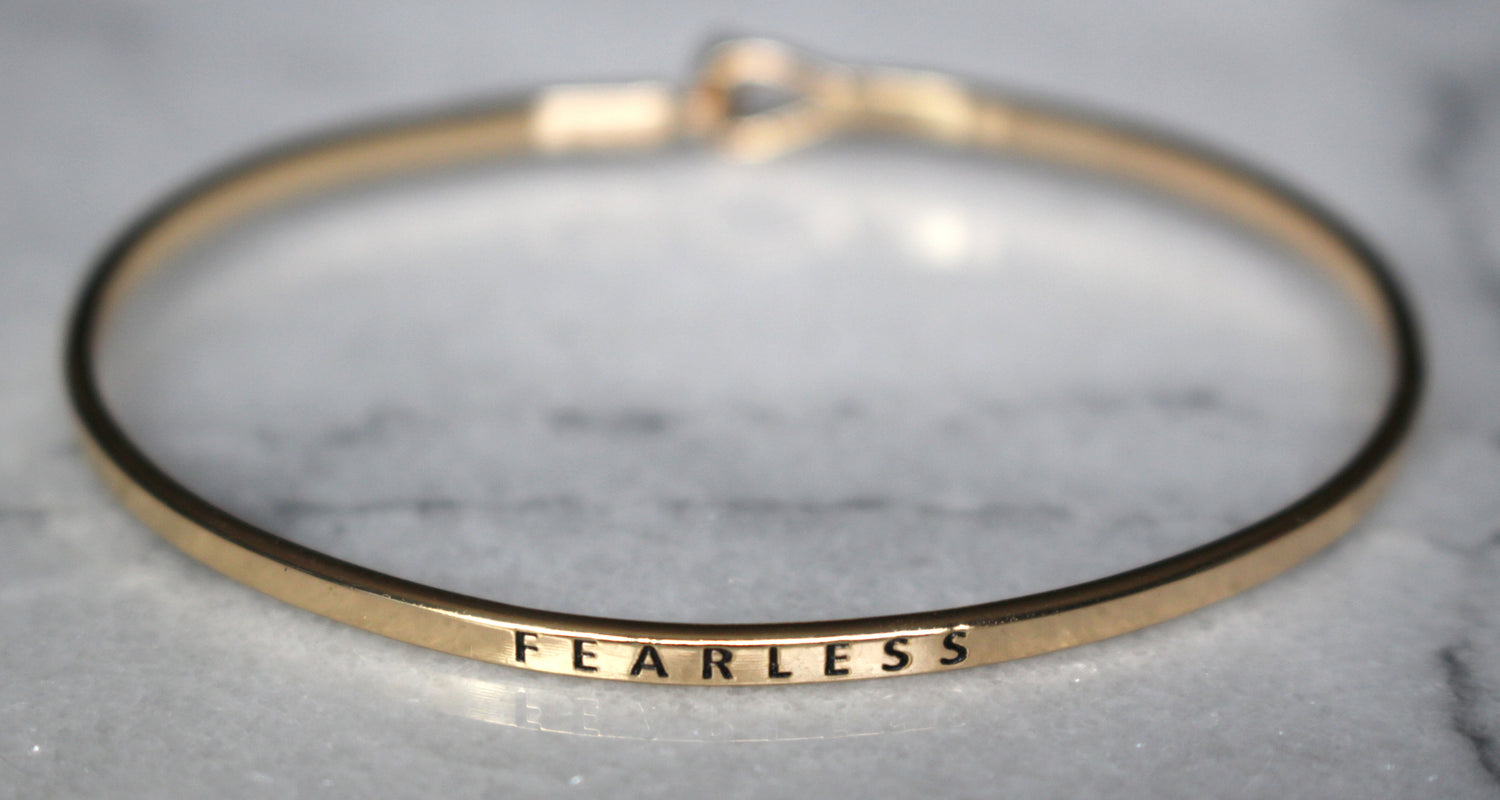 'Fearless' Dainty Bangle Bracelet-Gold