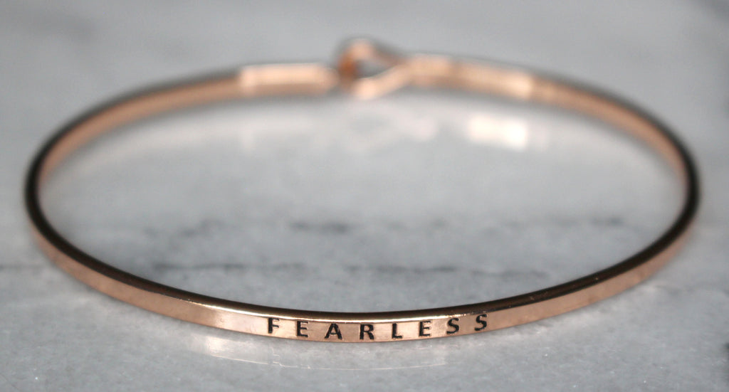 'Fearless' Dainty Bangle Bracelet-Rose Gold
