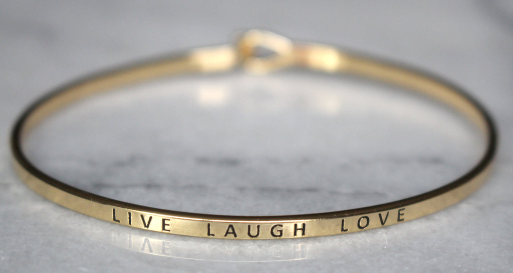 'Live Laugh Love' Dainty Bangle Bracelet-Gold