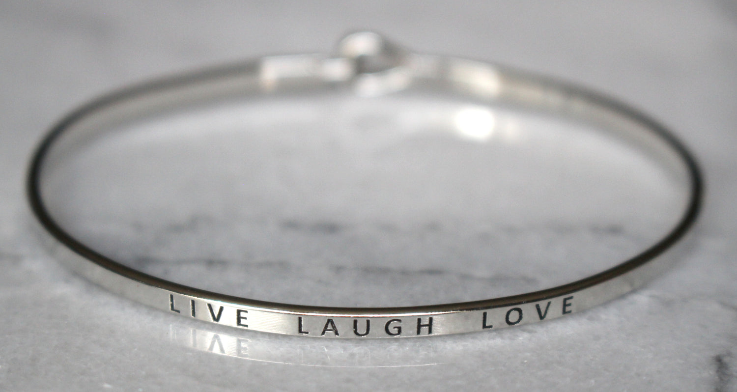 'Live Laugh Love' Dainty Bangle Bracelet-Silver