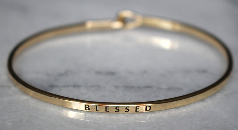 'Blessed' Dainty Bangle Bracelet-Gold