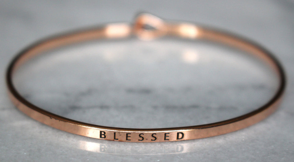 'Blessed' Dainty Bangle Bracelet-Rose Gold