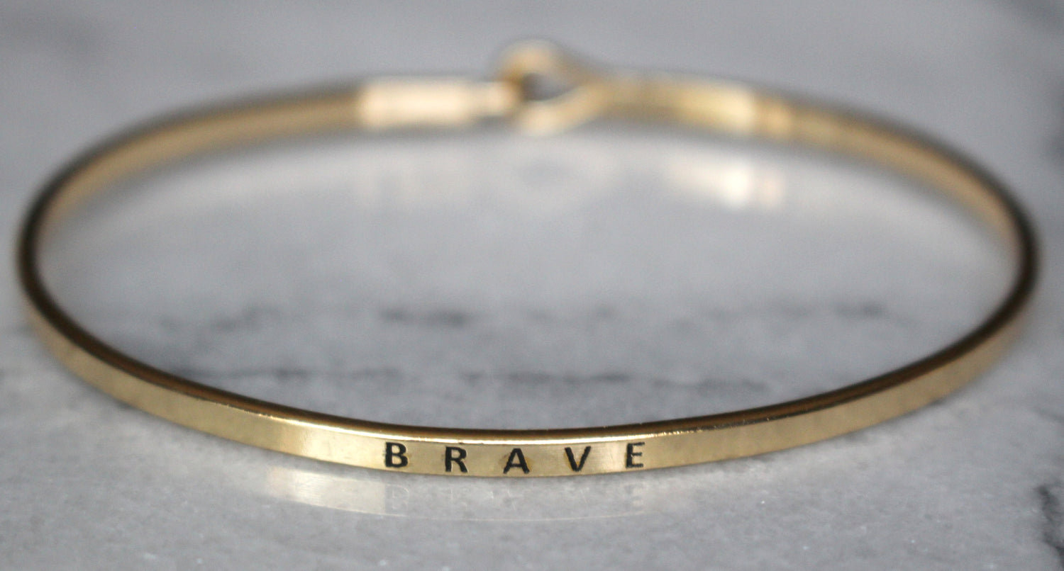 'Brave' Dainty Bangle Bracelet-Gold