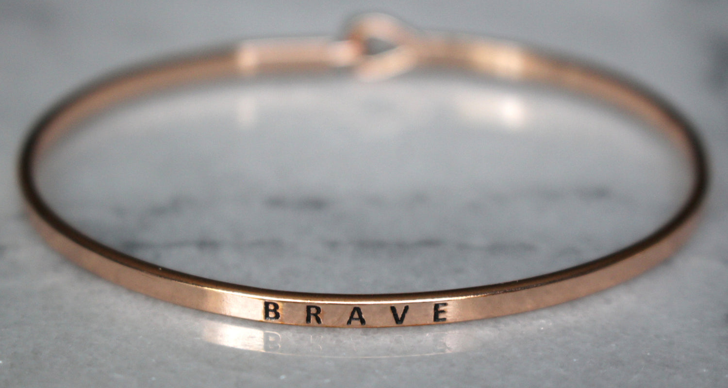 'Brave' Dainty Bangle  Bracelet-Rose Gold