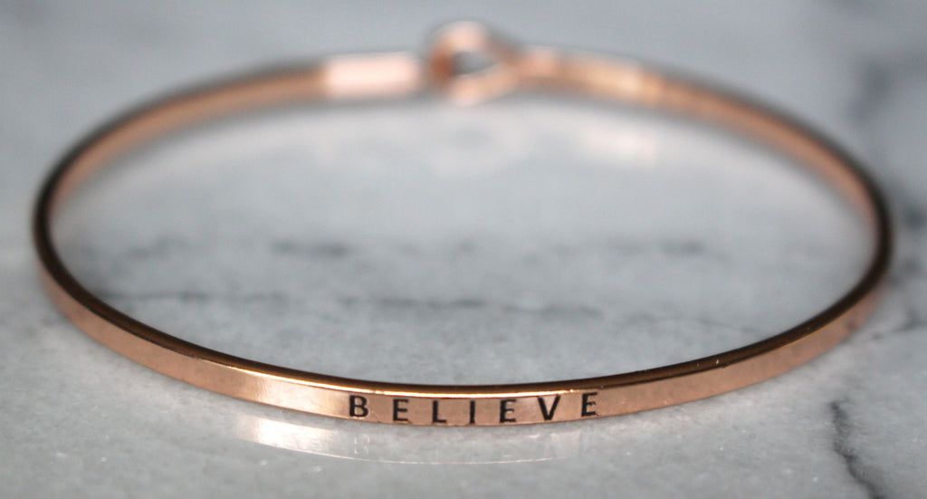 'Believe' Dainty Bangle Bracelet-Rose Gold