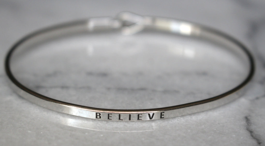 'Believe' Dainty Bangle Bracelet-Silver