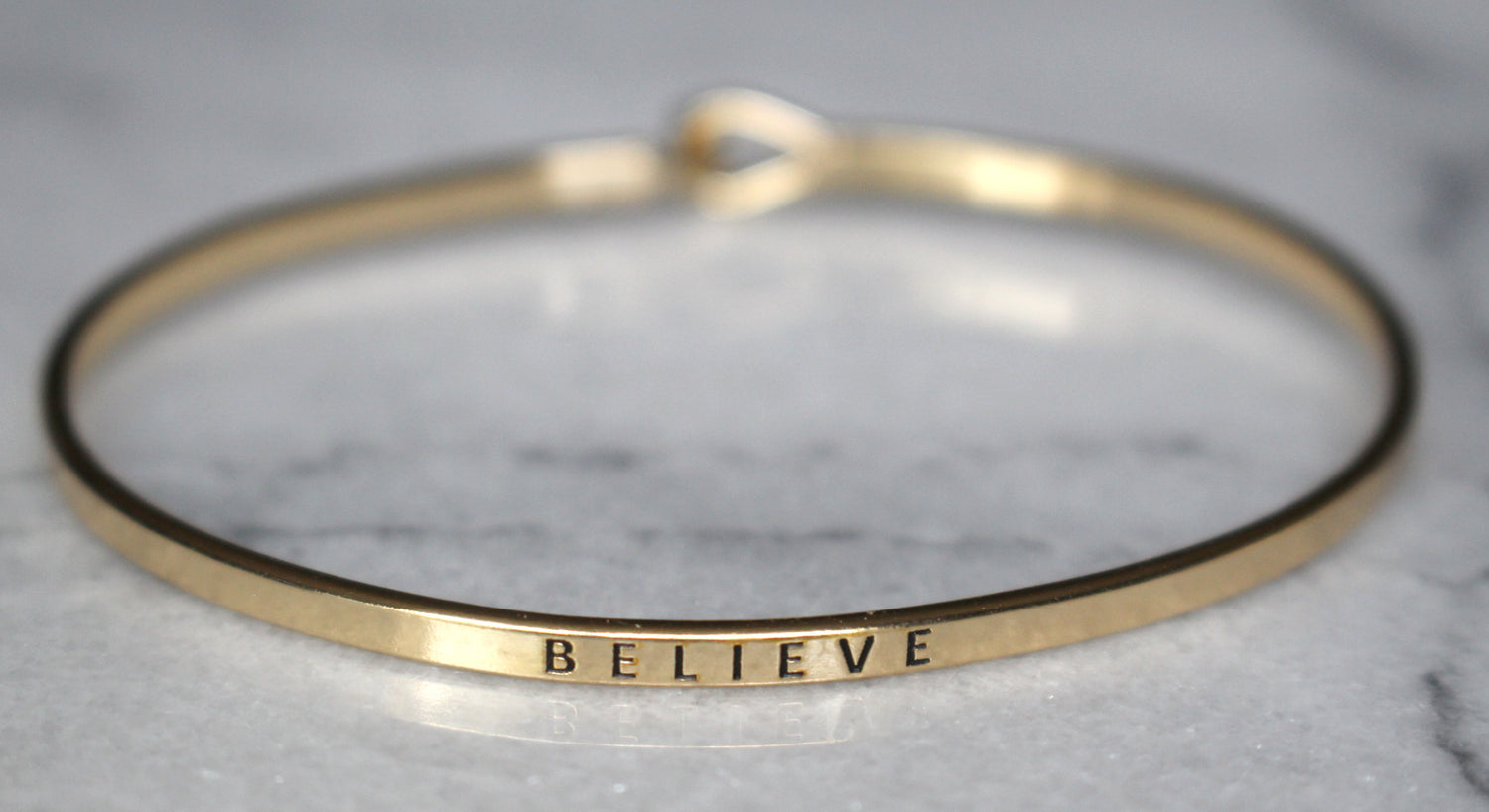 'Believe' Dainty Bangle Bracelet-Gold