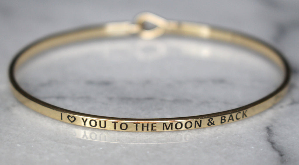 'I Love You To The Moon & Back' Dainty Bangle Bracelet-Gold