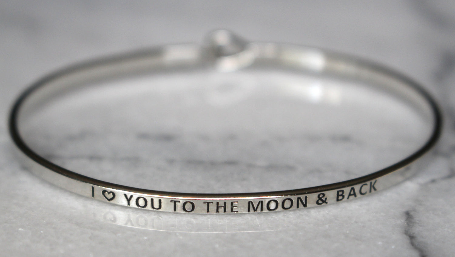 'I Love You To The Moon & Back' Dainty Bangle Bracelet-Silver