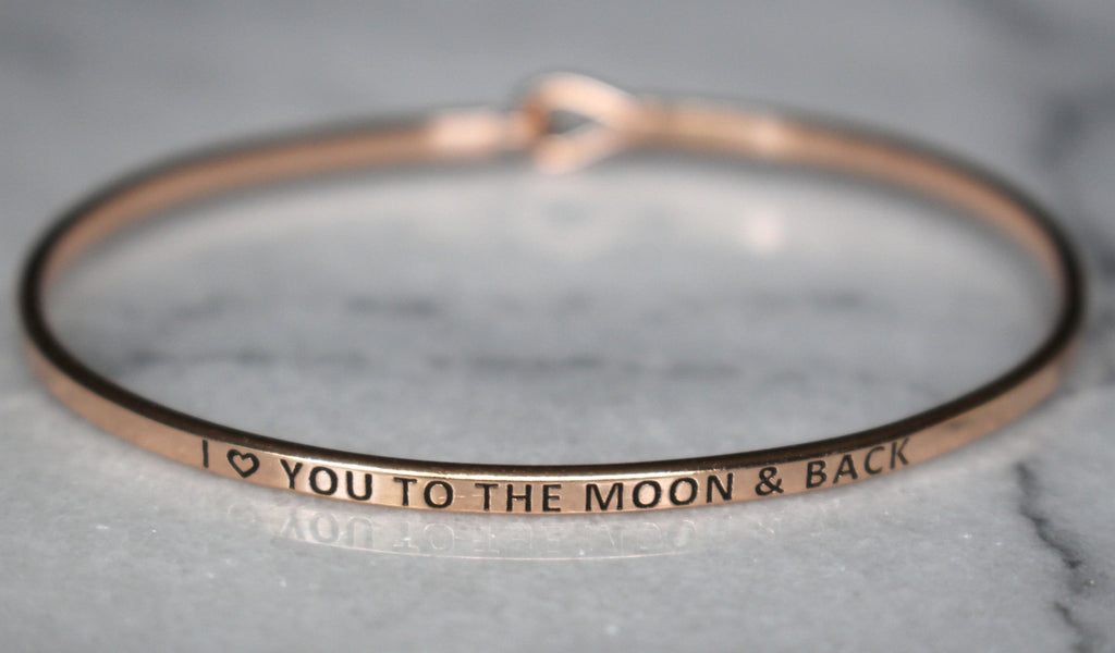 'I Love You To The Moon & Back' Dainty Bangle Bracelet-Rose Gold
