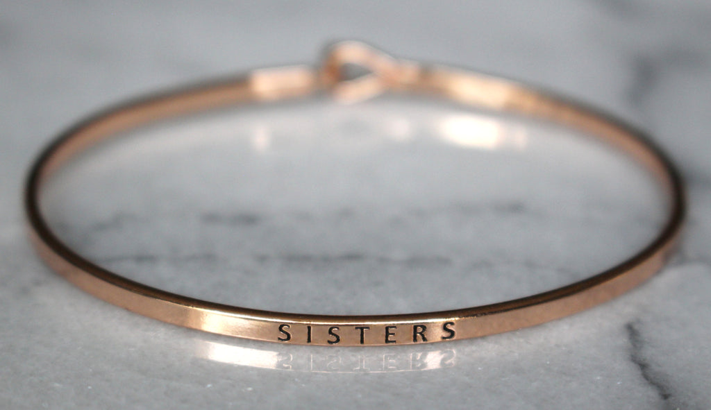 'Sisters' Dainty Bangle Bracelet-Rose Gold