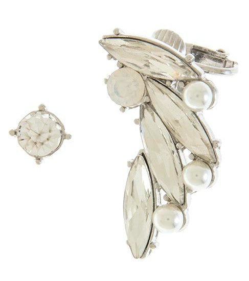 Spiky Crystal & Pearl Ear Crawler Set- Silver
