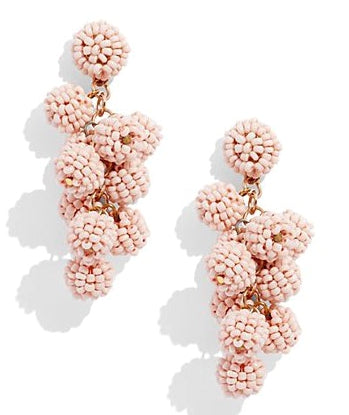 Savannah Beaded Cluster Earrings- Peach