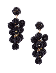 Savannah Beaded Cluster Earrings- Black