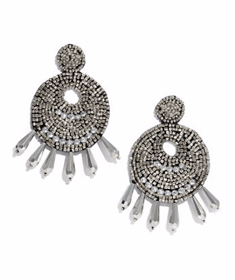 Ingrid Beaded Statement Earrings- Silver