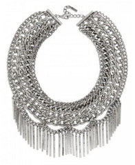 Draped In Metal Fringe Necklace- Silver
