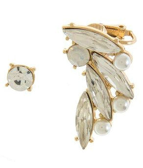 Spiky Crystal & Pearl Ear Crawler Set- Gold