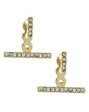Pavé Bar Ear Jackets- Gold