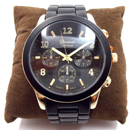 Ceramic Oversized Geneva Platinum Watch- Black