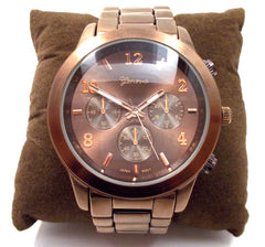 Metal Oversized Geneva Platinum Watch- Bronze Chocolate