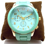 Ceramic Oversized Geneva Platinum Watch- Mint