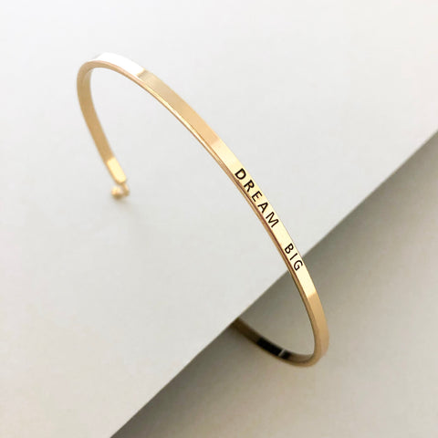 'Dream Big' Dainty Bangle Bracelet- Gold