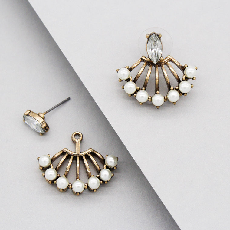 Farrah Pearl Ear Jacket Earrings