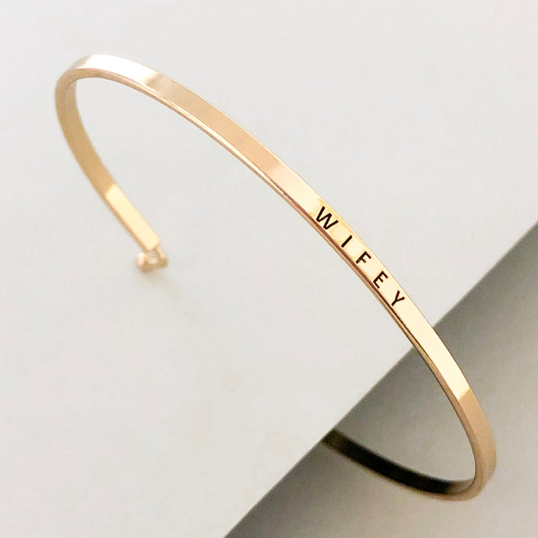 'Wifey' Dainty Bangle Bracelet-Gold