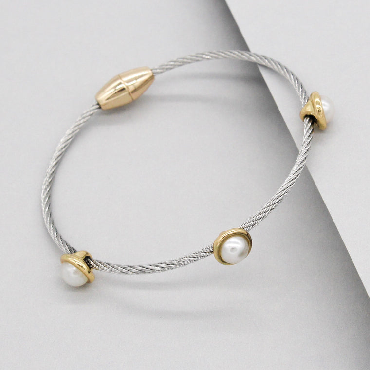 Stack It Up Wire Bangle Bracelet- Pearl Studs