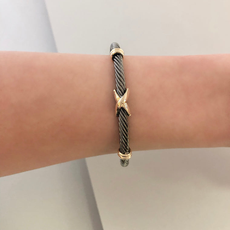 Stack It Up Bracelet Cuff- Gunmetal
