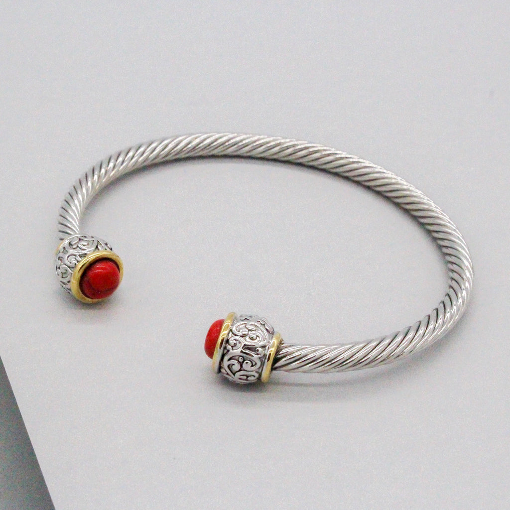 Stack It Up Bracelet Cuff- Red Stone