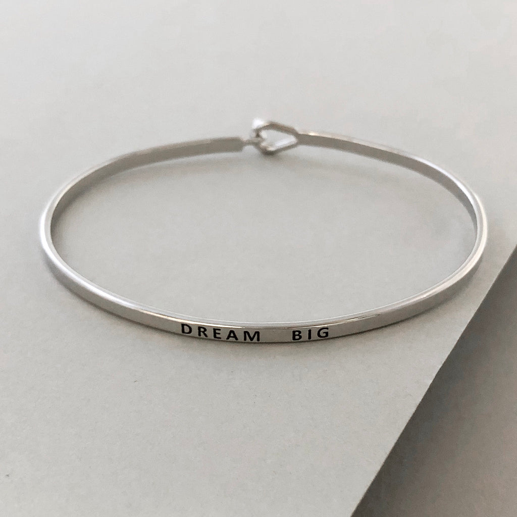 'Dream Big' Dainty Bangle Bracelet- Silver