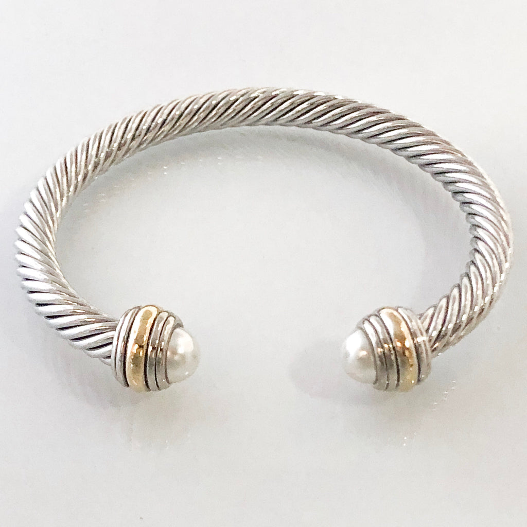 Stack It Up Bracelet Cuff- Classic Pearl Stone