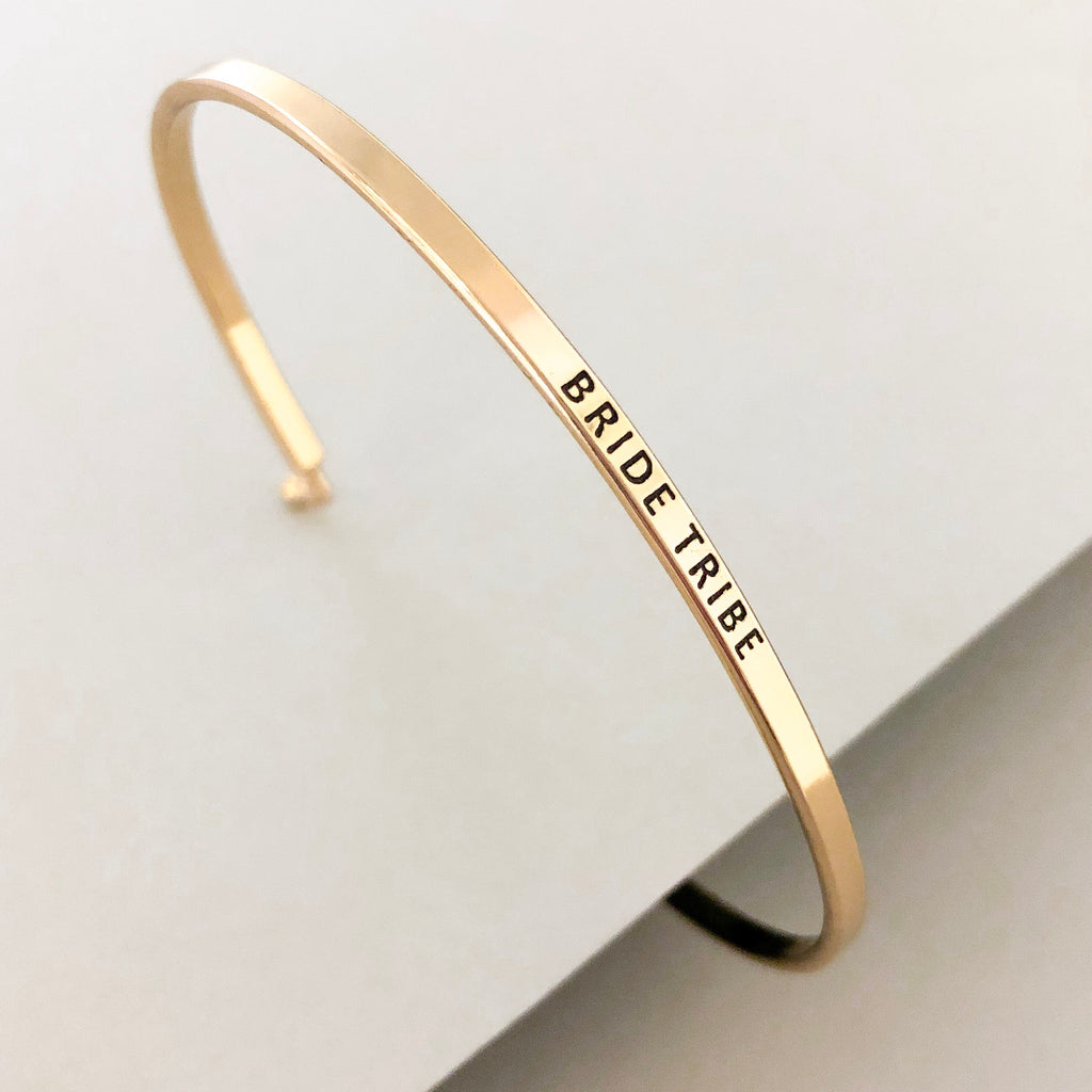 'Bride Tribe' Dainty Bangle Bracelet-Gold