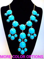 Bubble JEWELED Statement Necklace- Light Turquoise